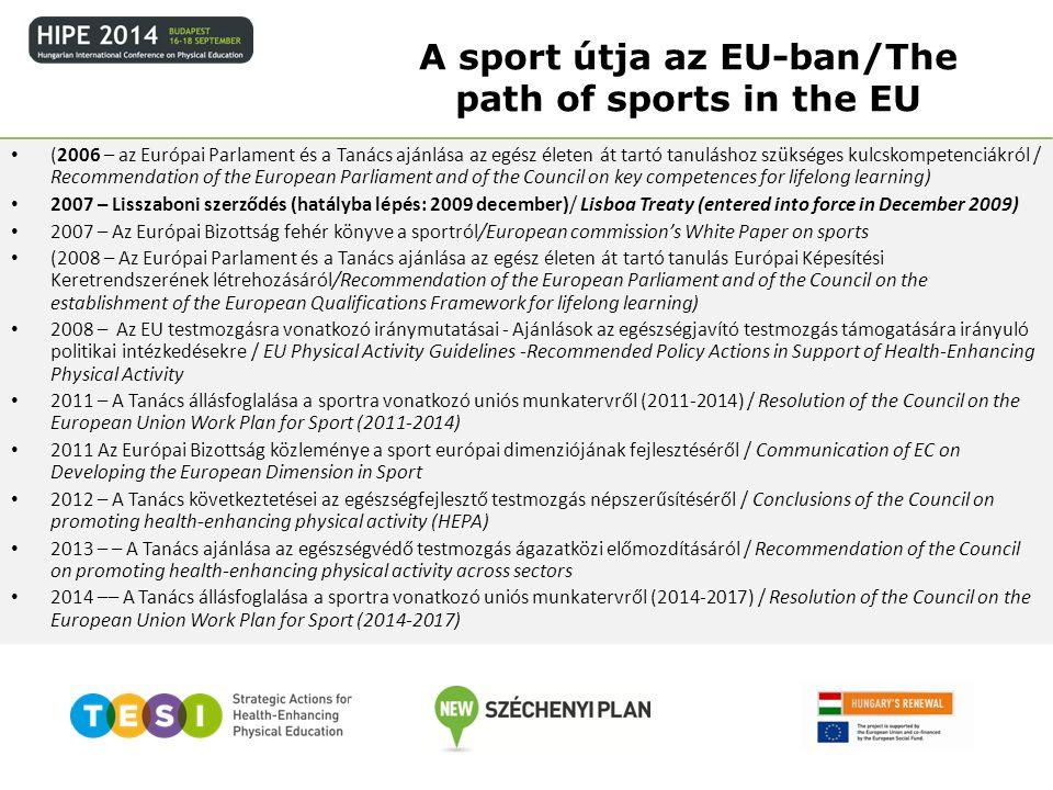 (2006 – az Európai Parlament és a Tanács ajánlása az egész életen át tartó tanuláshoz szükséges kulcskompetenciákról / Recommendation of the European