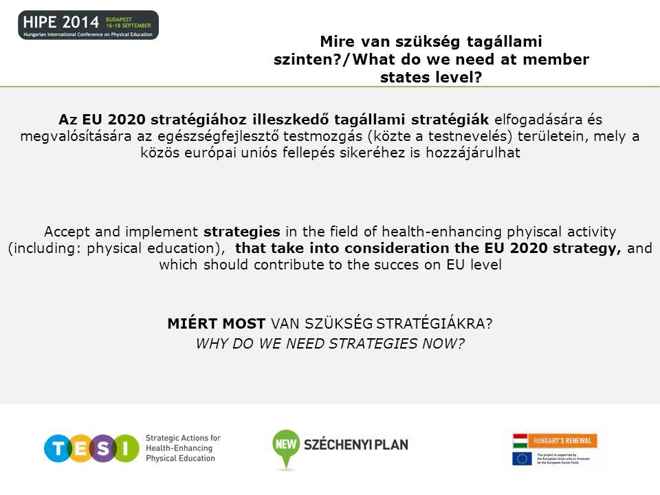 Az EU 2020 stratégiához illeszkedő tagállami stratégiák elfogadására és megvalósítására az egészségfejlesztő testmozgás (közte a testnevelés) területe