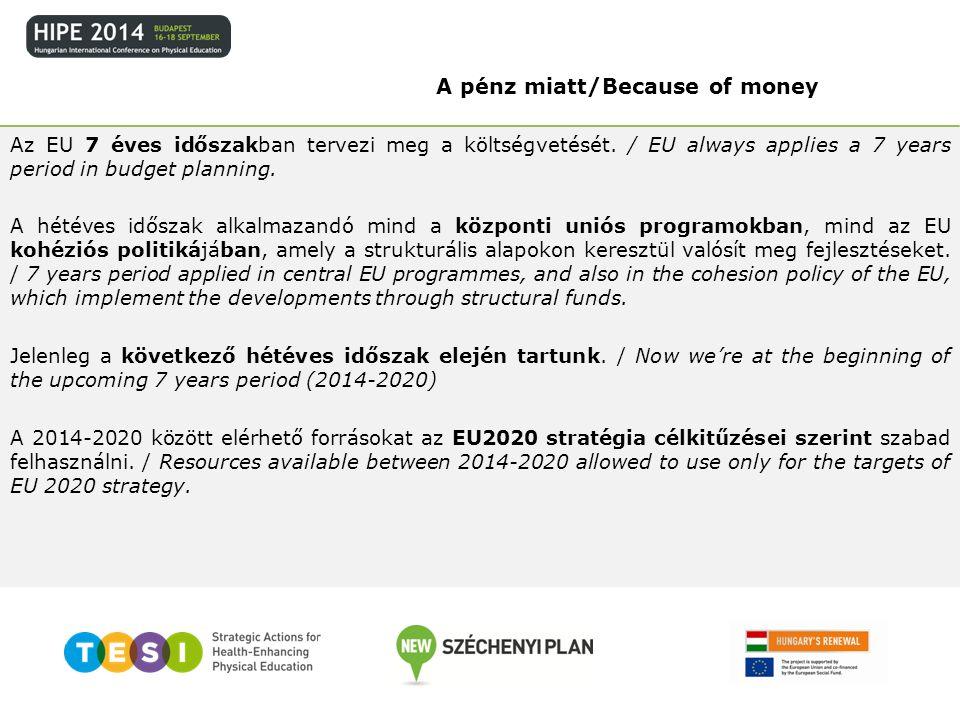 Az EU 7 éves időszakban tervezi meg a költségvetését. / EU always applies a 7 years period in budget planning. A hétéves időszak alkalmazandó mind a k