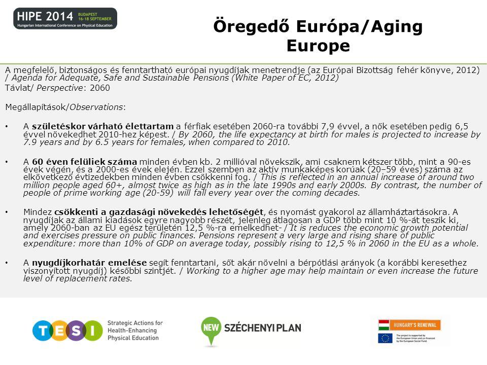 Eszközök/Tools: a nyugdíjkorhatár összekötése a várható élettartam növekedésével/ link the retirement age with increases in life expectancy; a korkedvezményes nyugdíjrendszerekhez való hozzáférés és a munkaerő-piacról való más korai kilépési lehetőségek korlátozása / restrict access to early retirement schemes and other early exit pathways a munkában eltöltött idő meghosszabbítása az egész életen át tartó tanuláshoz való könnyebb hozzáférés révén / support longer working lives by providing better access to life- long learning az idősebb munkavállalók számára foglalkoztatási lehetőségek biztosítása az aktív és egészséges öregkor támogatása révén / developing employment opportunities for older workers by supporting active and healthy ageing a nők és férfiak nyugdíjkorhatárának egyenlővé tétele / equalise the pensionable age between men and women.