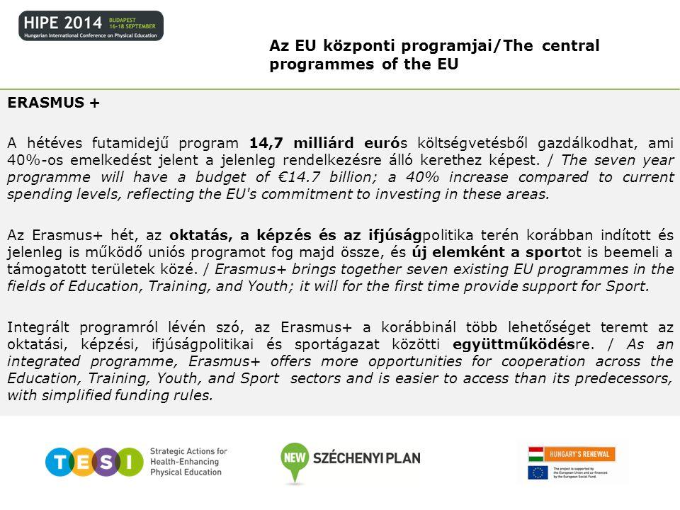 ERASMUS + A hétéves futamidejű program 14,7 milliárd eurós költségvetésből gazdálkodhat, ami 40%-os emelkedést jelent a jelenleg rendelkezésre álló ke