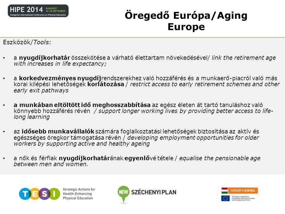 Eszközök/Tools: a nyugdíjkorhatár összekötése a várható élettartam növekedésével/ link the retirement age with increases in life expectancy; a korkedv