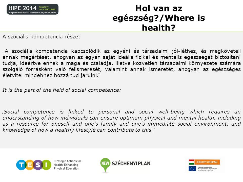 Azért, mert bár a jelenlegi ajánlás 8 kulcskompetencia-területet tartalmaz, gyakorlatilag csak egy mondatot találunk benne az egészséges életvezetésről, a szociális kompetencia részeként.
