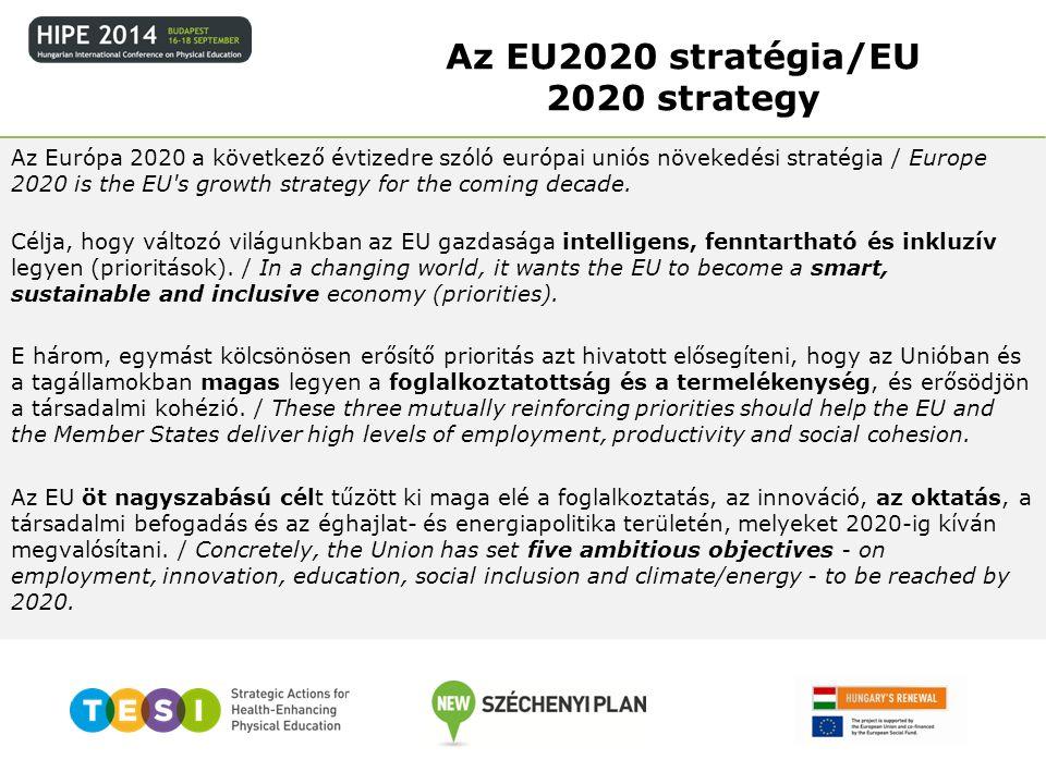 A stratégia 5 kiemelt célja: 1.Foglalkoztatás/Employment – Biztosítani kell, hogy a 20–64 évesek körében a foglalkoztatottság aránya elérje a 75%-ot/75% of the 20-64 year- olds to be employed 2.K+F/R&D – Az Európai Unió GDP-jének 3%-át a kutatásba és a fejlesztésbe kell fektetni./3% of the EU s GDP to be invested in R&D 3.Éghajlatvédelem és fenntartható energiagazdálkodás/Climate change and energy sustainability 4.Oktatás/Education – A korai iskolaelhagyók arányát 10% alá kell csökkenteni.