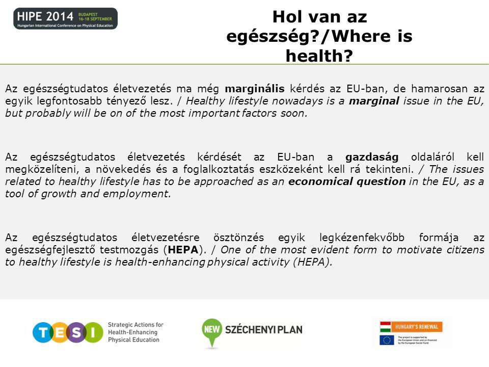 Az egészségtudatos életvezetés ma még marginális kérdés az EU-ban, de hamarosan az egyik legfontosabb tényező lesz. / Healthy lifestyle nowadays is a
