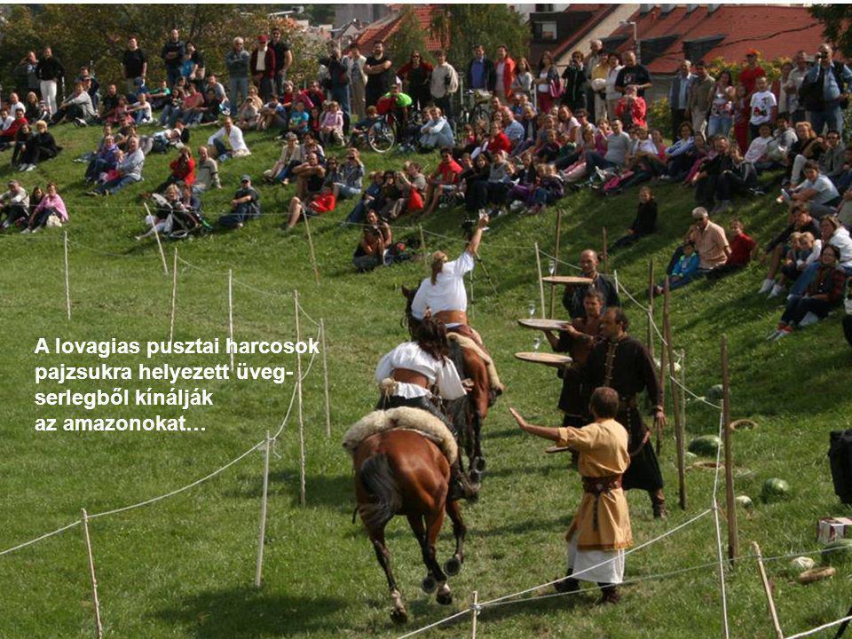 A lovagias pusztai harcosok pajzsukra helyezett üveg- serlegből kínálják az amazonokat…