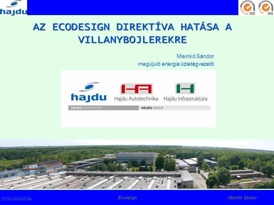 Energiacímkézés - vízmelegítők www.hajdurt.huwww.hajdurt.hu, Ecodesign Misinkó Sándor Az ECODESIGN direktíva megvalósításának eszközei  Az energiacímke bevezetése  Minimum energiahatékonysági elvárások megfogalmazása (MEEPS)  Épületek hatékonyságára vonatkozó direktíva (EPBD)  CE jelölés hozzákapcsolása az energiahatékonysági elvárás teljesítéséhez  Támogatási rendszerek működtetése (vissza nem térítendő támogatás, adó visszatérítés)