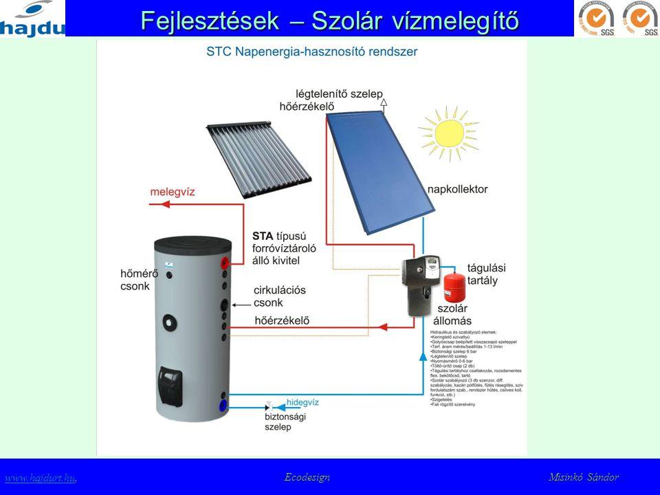 Fejlesztések – Szolár vízmelegítő www.hajdurt.huwww.hajdurt.hu, Ecodesign Misinkó Sándor