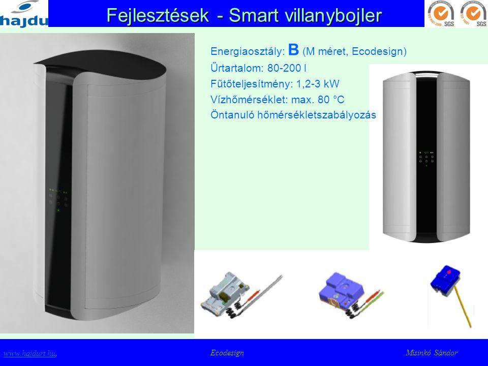 Fejlesztések - Smart villanybojler www.hajdurt.huwww.hajdurt.hu, Ecodesign Misinkó Sándor Energiaosztály: B (M méret, Ecodesign) Űrtartalom: 80-200 l