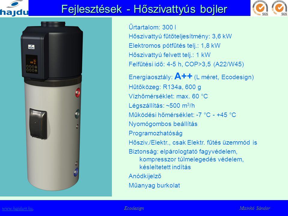 Fejlesztések - Hőszivattyús bojler www.hajdurt.huwww.hajdurt.hu, Ecodesign Misinkó Sándor Űrtartalom: 300 l Hőszivattyú fűtőteljesítmény: 3,6 kW Elekt