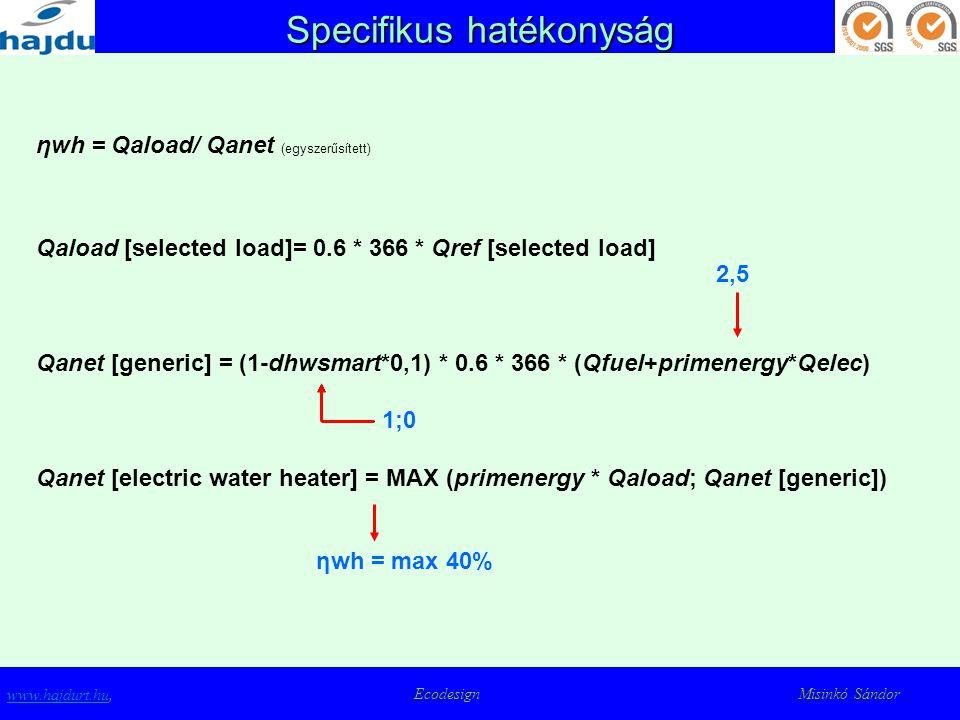 Specifikus hatékonyság www.hajdurt.huwww.hajdurt.hu, Ecodesign Misinkó Sándor ηwh = Qaload/ Qanet (egyszerűsített) Qaload [selected load]= 0.6 * 366 *