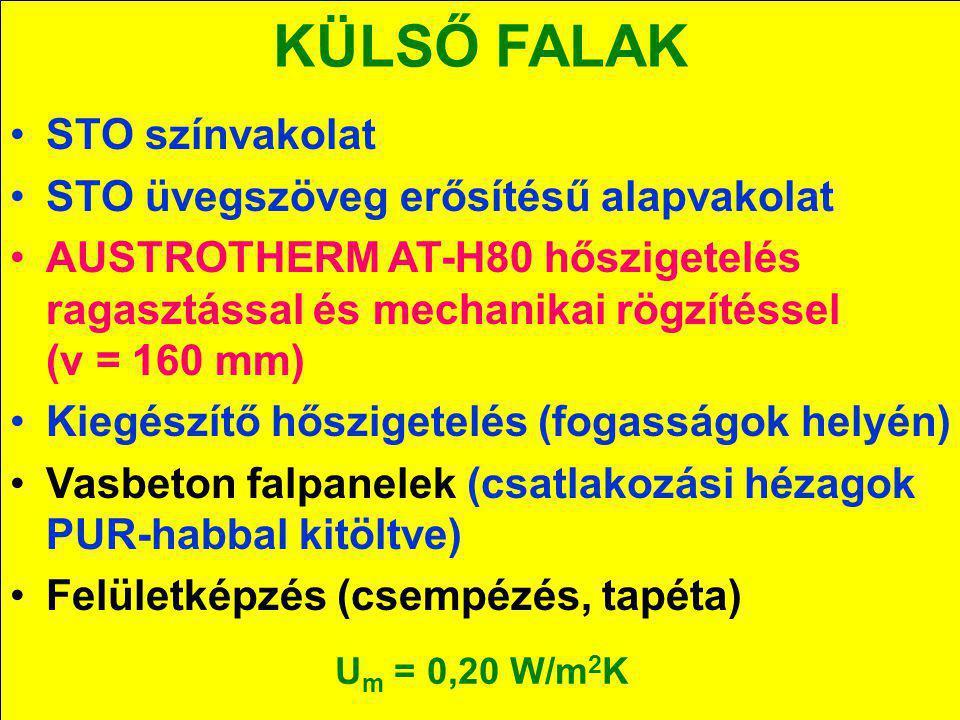 KÜLSŐ FALAK STO színvakolat STO üvegszöveg erősítésű alapvakolat AUSTROTHERM AT-H80 hőszigetelés ragasztással és mechanikai rögzítéssel (v = 160 mm) K