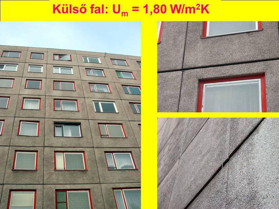 Külső fal: U m = 1,80 W/m 2 K