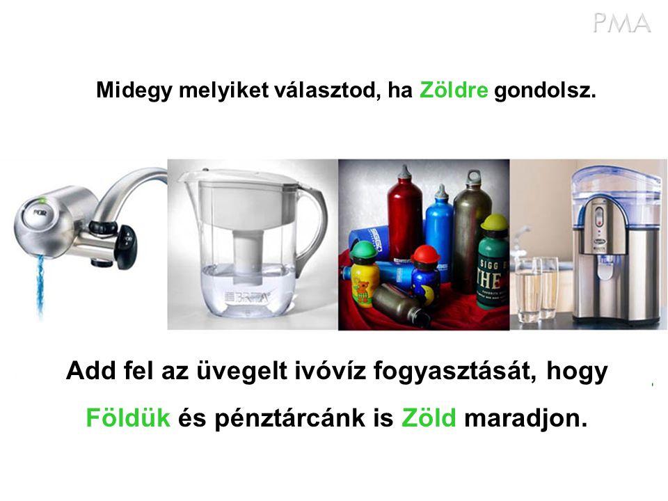 Add fel az üvegelt ivóvíz fogyasztását, hogy Földük és pénztárcánk is Zöld maradjon. Midegy melyiket választod, ha Zöldre gondolsz.