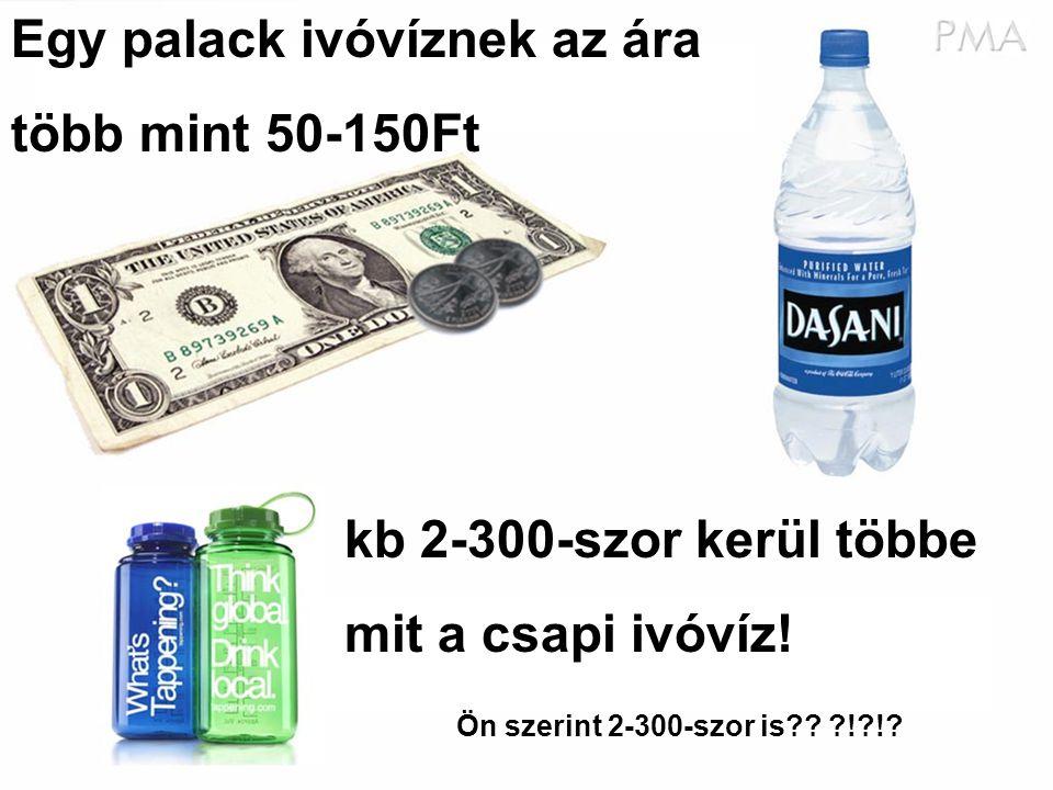 Egy palack ivóvíznek az ára több mint 50-150Ft kb 2-300-szor kerül többe mit a csapi ivóvíz.