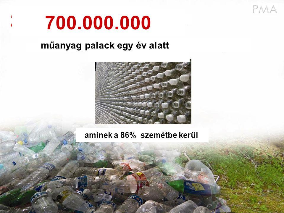 műanyag palack egy év alatt aminek a 86% szemétbe kerül 700.000.000