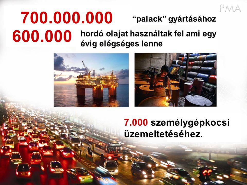 """""""palack"""" gyártásához hordó olajat használtak fel ami egy évig elégséges lenne 7.000 személygépkocsi üzemeltetéséhez. 700.000.000 600.000"""