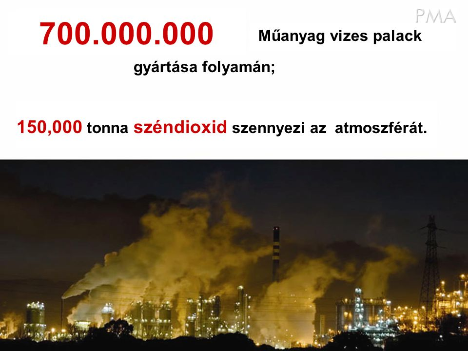 Műanyag vizes palack 150,000 tonna széndioxid szennyezi az atmoszférát. gyártása folyamán; 700.000.000