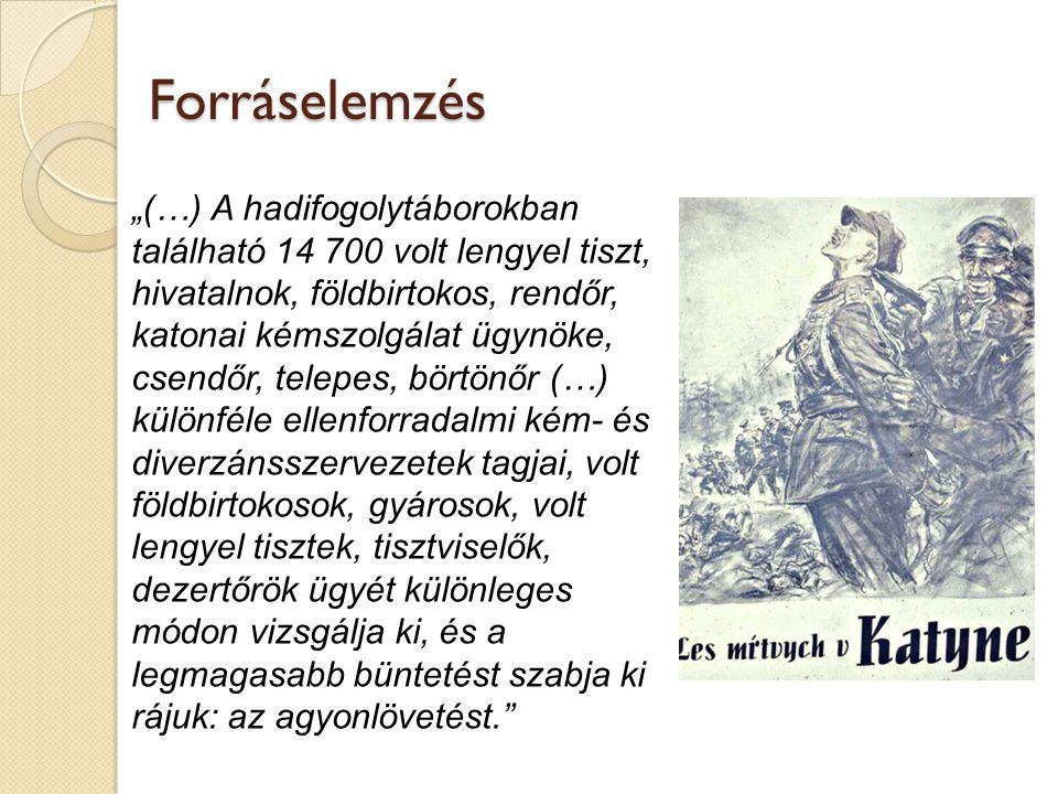 """""""(…) A hadifogolytáborokban található 14 700 volt lengyel tiszt, hivatalnok, földbirtokos, rendőr, katonai kémszolgálat ügynöke, csendőr, telepes, börtönőr (…) különféle ellenforradalmi kém- és diverzánsszervezetek tagjai, volt földbirtokosok, gyárosok, volt lengyel tisztek, tisztviselők, dezertőrök ügyét különleges módon vizsgálja ki, és a legmagasabb büntetést szabja ki rájuk: az agyonlövetést. Forráselemzés"""