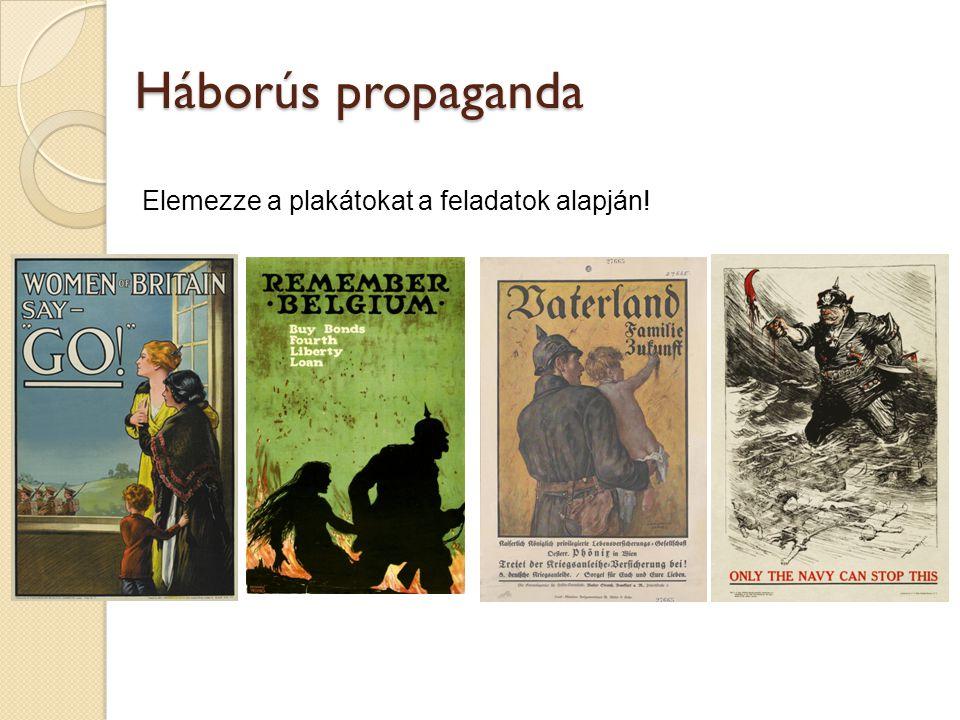 Elemezze a plakátokat a feladatok alapján! Háborús propaganda