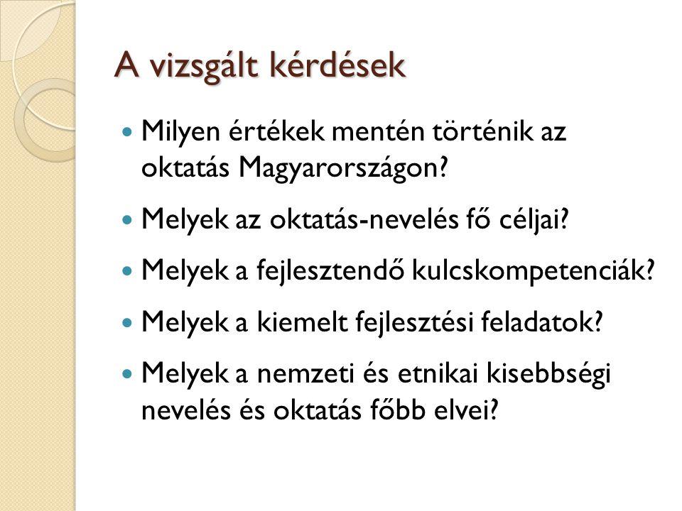 A vizsgált kérdések Milyen értékek mentén történik az oktatás Magyarországon? Melyek az oktatás-nevelés fő céljai? Melyek a fejlesztendő kulcskompeten