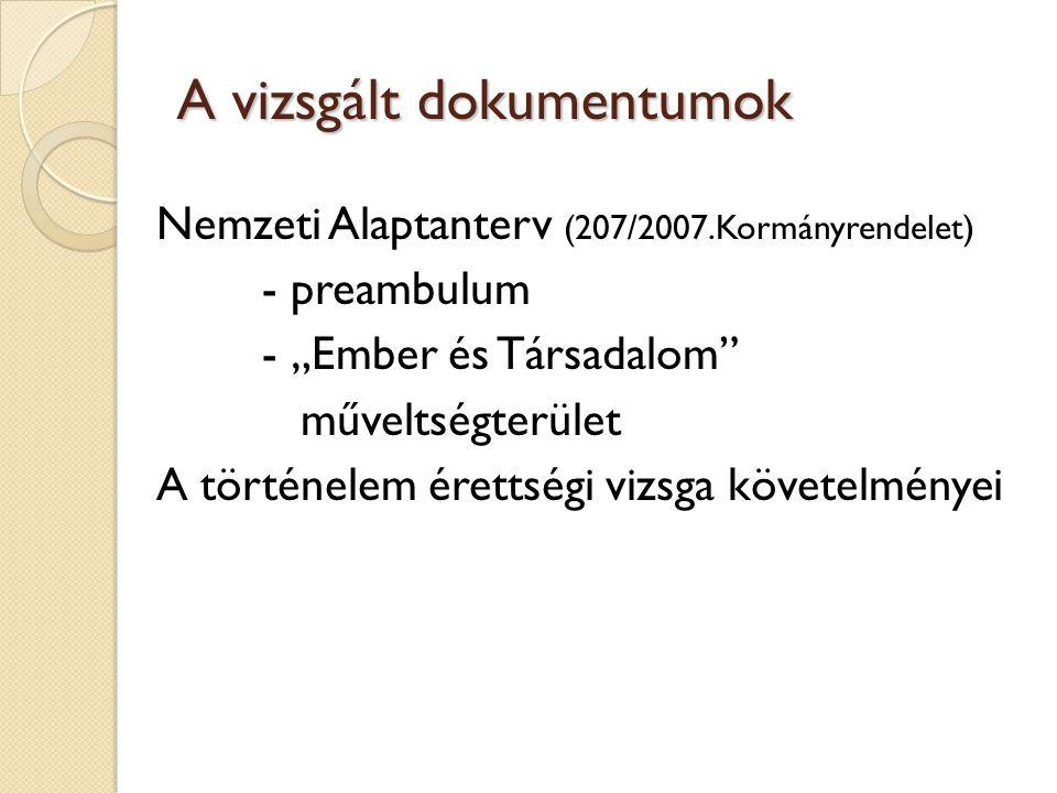 """A vizsgált dokumentumok Nemzeti Alaptanterv (207/2007.Kormányrendelet) - preambulum - """"Ember és Társadalom műveltségterület A történelem érettségi vizsga követelményei"""