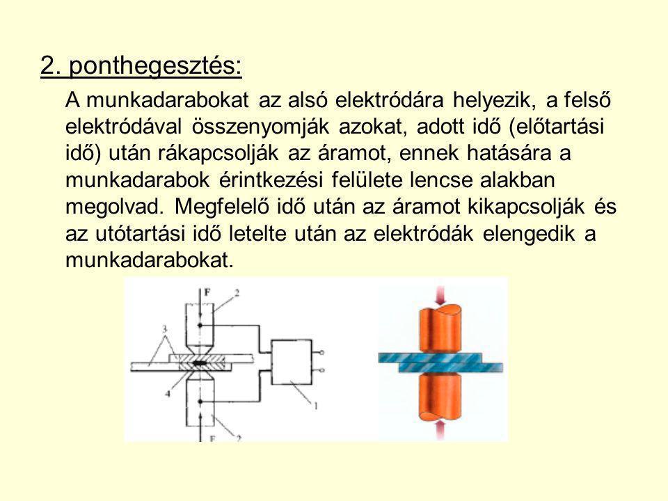2. ponthegesztés: A munkadarabokat az alsó elektródára helyezik, a felső elektródával összenyomják azokat, adott idő (előtartási idő) után rákapcsoljá