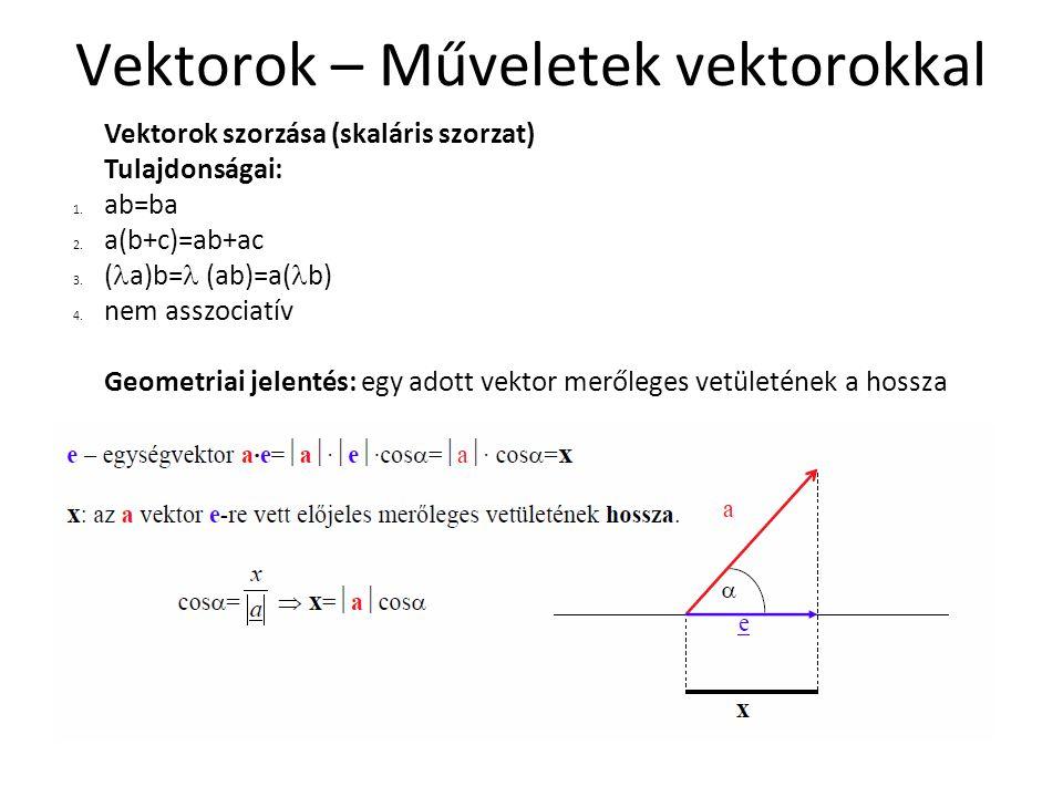 Vektorok – Műveletek vektorokkal Vektorok szorzása (skaláris szorzat) Tulajdonságai: 1. ab=ba 2. a(b+c)=ab+ac 3. ( a)b=  (ab)=a( b) 4. nem asszociatí