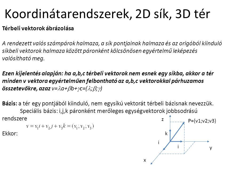 Koordinátarendszerek, 2D sík, 3D tér Térbeli vektorok ábrázolása A rendezett valós számpárok halmaza, a sík pontjainak halmaza és az origóból kiinduló