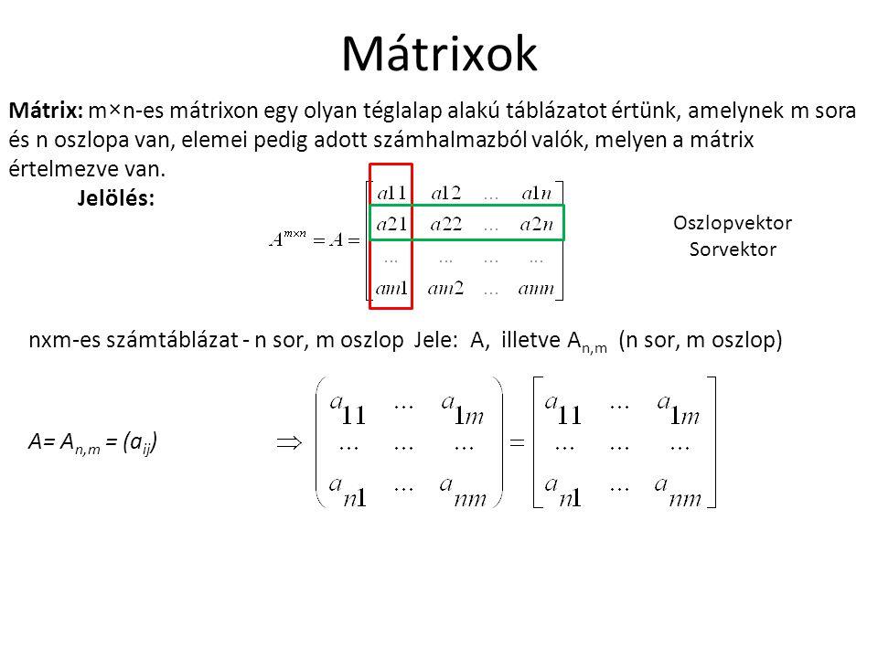 Mátrixok Mátrix: m×n-es mátrixon egy olyan téglalap alakú táblázatot értünk, amelynek m sora és n oszlopa van, elemei pedig adott számhalmazból valók,