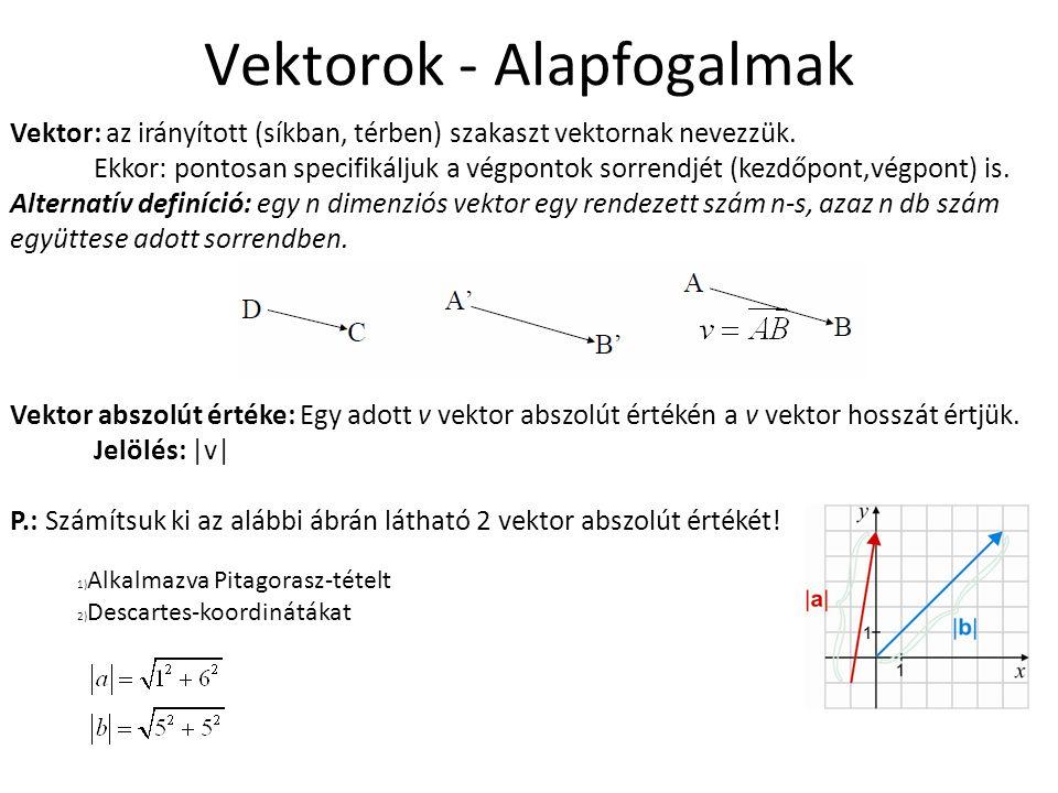 Vektorok - Alapfogalmak Vektor: az irányított (síkban, térben) szakaszt vektornak nevezzük. Ekkor: pontosan specifikáljuk a végpontok sorrendjét (kezd