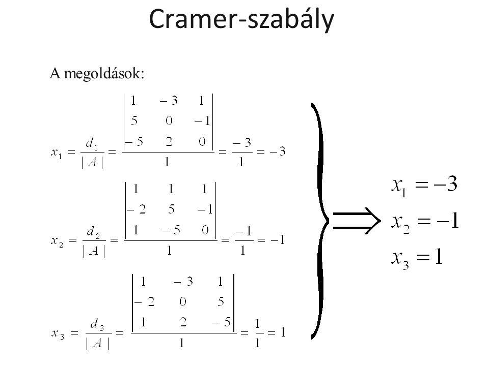 A megoldások: Cramer-szabály