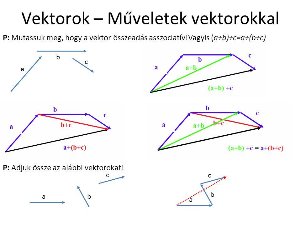 Vektorok – Műveletek vektorokkal P: Mutassuk meg, hogy a vektor összeadás asszociatív!Vagyis (a+b)+c=a+(b+c) P: Adjuk össze az alábbi vektorokat! ab c