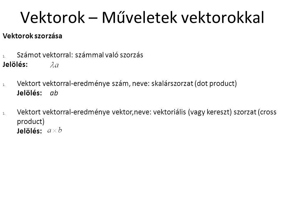 Vektorok – Műveletek vektorokkal Vektorok szorzása 1. Számot vektorral: számmal való szorzás Jelölés: 1. Vektort vektorral-eredménye szám, neve: skalá