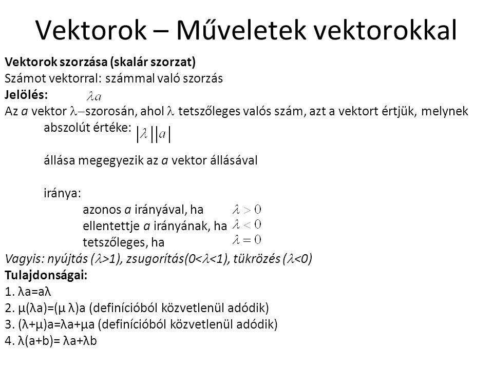 Vektorok – Műveletek vektorokkal Vektorok szorzása (skalár szorzat) Számot vektorral: számmal való szorzás Jelölés: Az a vektor  szorosán, ahol  tet