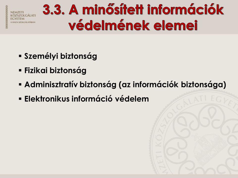  Személyi biztonság  Fizikai biztonság  Adminisztratív biztonság (az információk biztonsága)  Elektronikus információ védelem