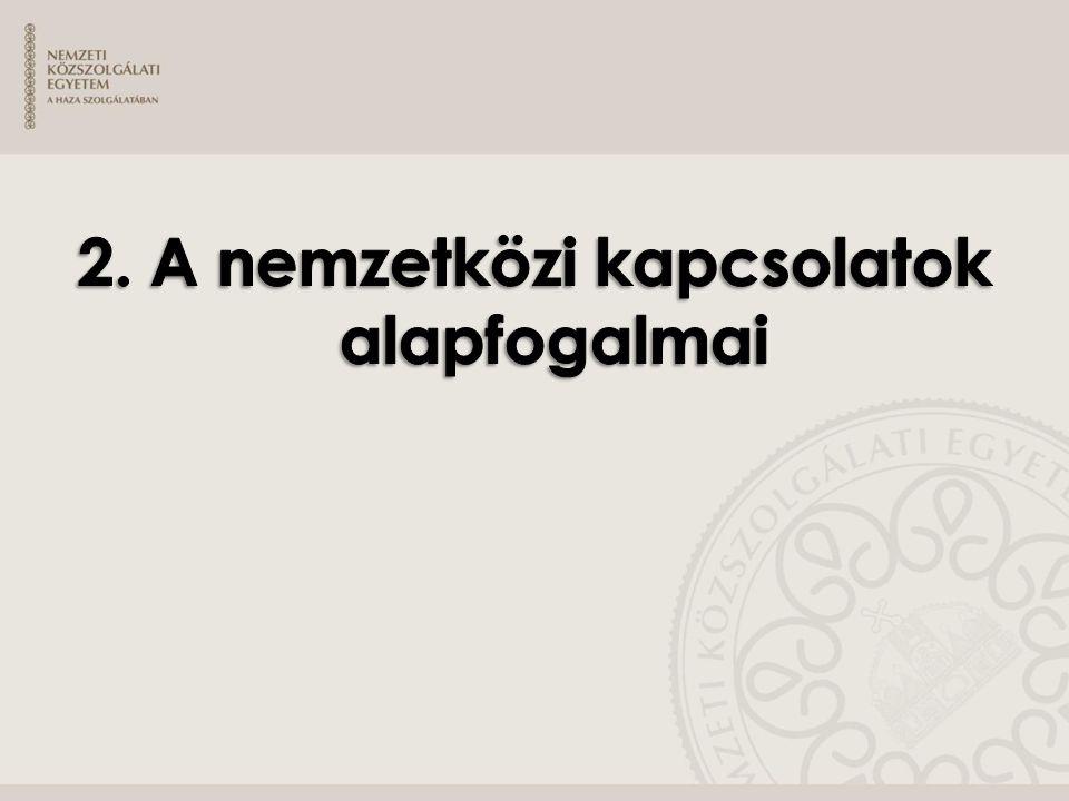 » Célkitűzések: ˃ A jelölt adjon számot a nemzetközi jog alapfogalmairól.