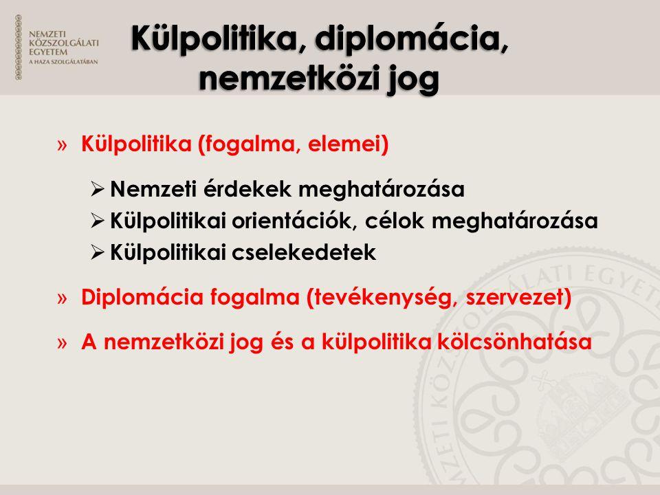 » Külpolitika (fogalma, elemei)  Nemzeti érdekek meghatározása  Külpolitikai orientációk, célok meghatározása  Külpolitikai cselekedetek » Diplomác