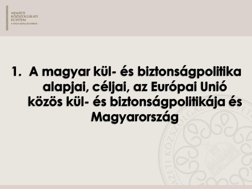 » Célkitűzések: ˃ A vizsgázó ismerje meg Magyarország külpolitikájának alapjait, ˃ érdekérvényesítő eszközeit, ˃ célkitűzéseit, ˃ prioritásait, ˃ jogszabályalapjait, ˃ mozgásterének dimenzióit, ˃ eszköztárát, és az ezzel kapcsolatos nemzetközi hátteret, aktuális kihívásait, valamint ˃ az Európai Unió közös kül- és biztonságpolitikájának alapjait, illetőleg ˃ az EU és Magyarország kül- és biztonságpolitikájának kapcsolatát.