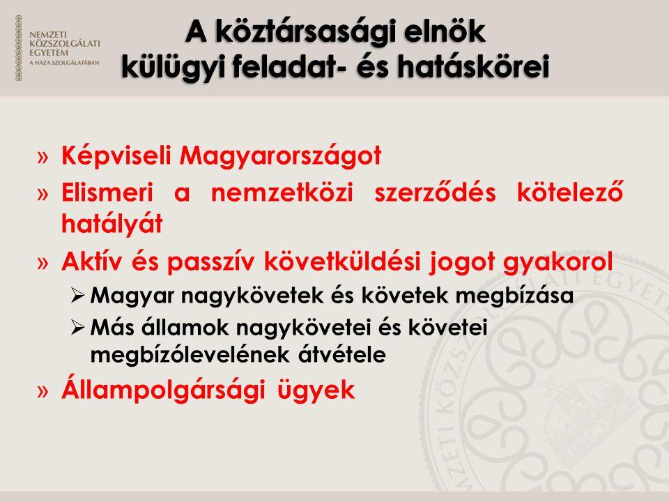» Képviseli Magyarországot » Elismeri a nemzetközi szerződés kötelező hatályát » Aktív és passzív követküldési jogot gyakorol  Magyar nagykövetek és