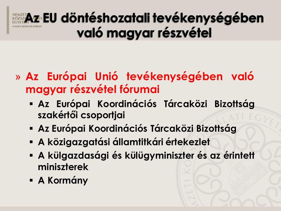 » Az Európai Unió tevékenységében való magyar részvétel fórumai  Az Európai Koordinációs Tárcaközi Bizottság szakértői csoportjai  Az Európai Koordi
