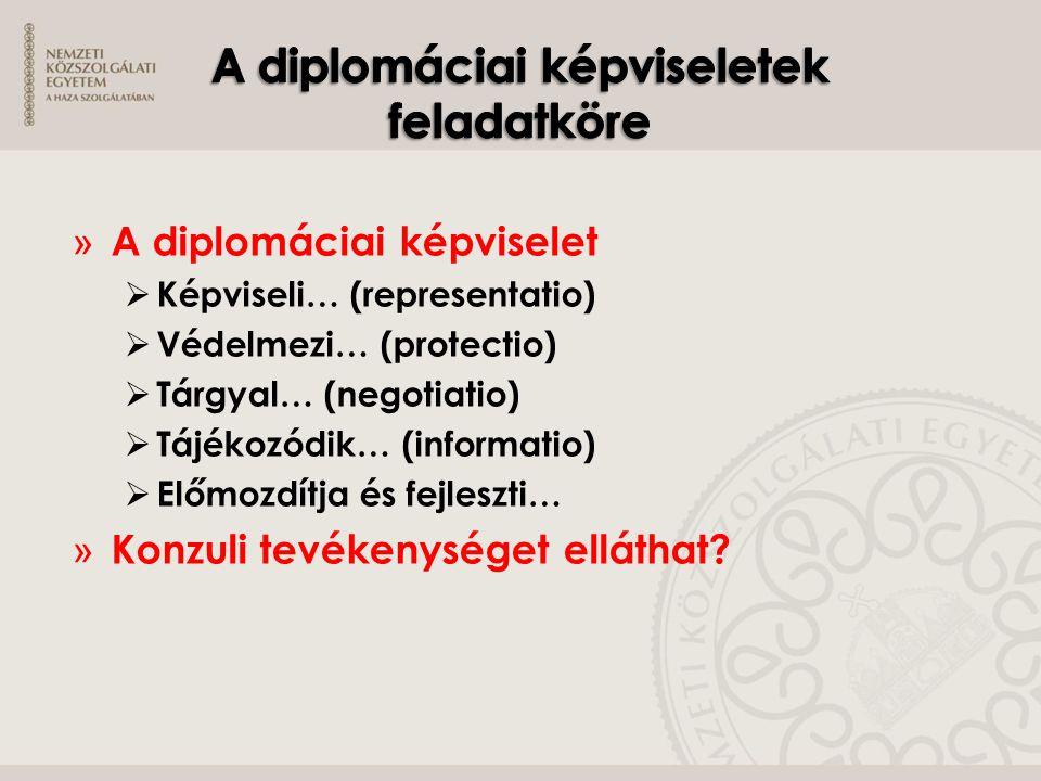 » A diplomáciai képviselet  Képviseli… (representatio)  Védelmezi… (protectio)  Tárgyal… (negotiatio)  Tájékozódik… (informatio)  Előmozdítja és