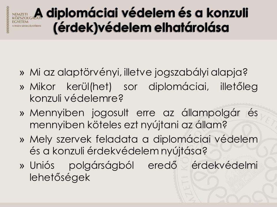» Mi az alaptörvényi, illetve jogszabályi alapja? » Mikor kerül(het) sor diplomáciai, illetőleg konzuli védelemre? » Mennyiben jogosult erre az államp