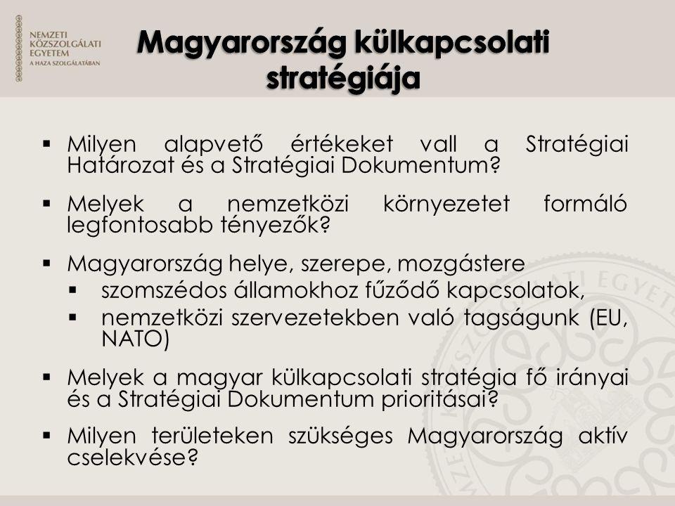  Milyen alapvető értékeket vall a Stratégiai Határozat és a Stratégiai Dokumentum?  Melyek a nemzetközi környezetet formáló legfontosabb tényezők? 