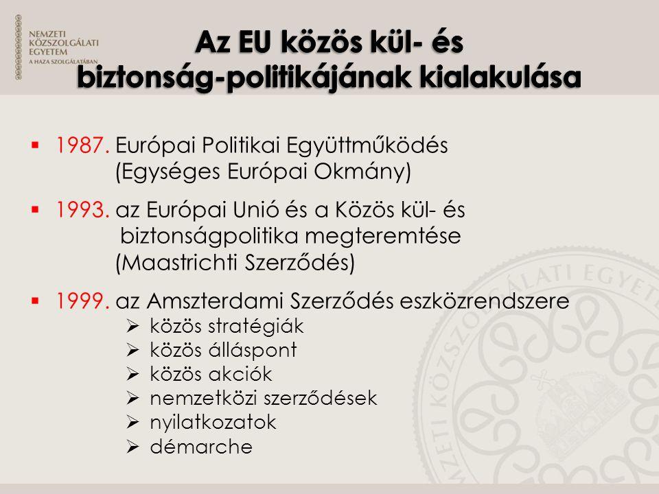  A közös kül- és biztonságpolitika viszonya az Unió egyéb tevékenységeihez  Külügyi és biztonságpolitikai főképviselő  Az Unió fellépésének eszközei  általános iránymutatások  határozatok  tagállamok közötti rendszeres együttműködés  Döntéshozatal a közös kül- és biztonságpolitika területén  Az Európai Bíróság hatáskörei  Az EU és az ENSZ Biztonsági Tanácsának kapcsolata