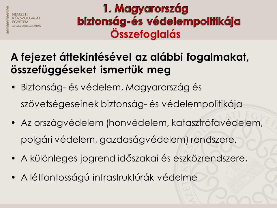  Melyek a Magyarország biztonságpolitikáját meghatározó alapdokumentumok.