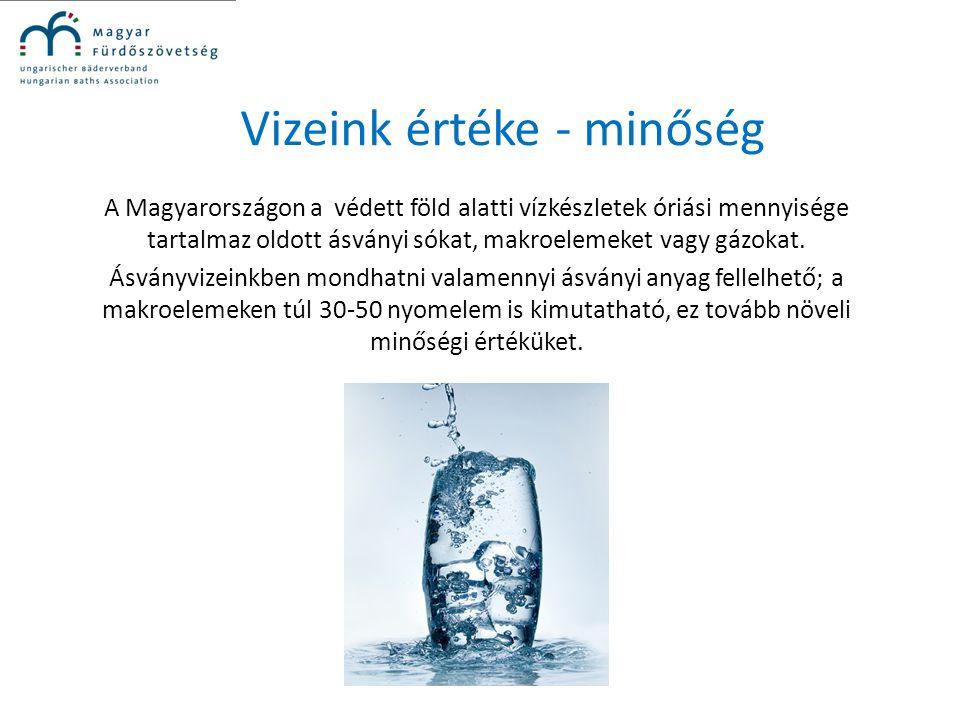 Vizeink értéke - minőség A Magyarországon a védett föld alatti vízkészletek óriási mennyisége tartalmaz oldott ásványi sókat, makroelemeket vagy gázok