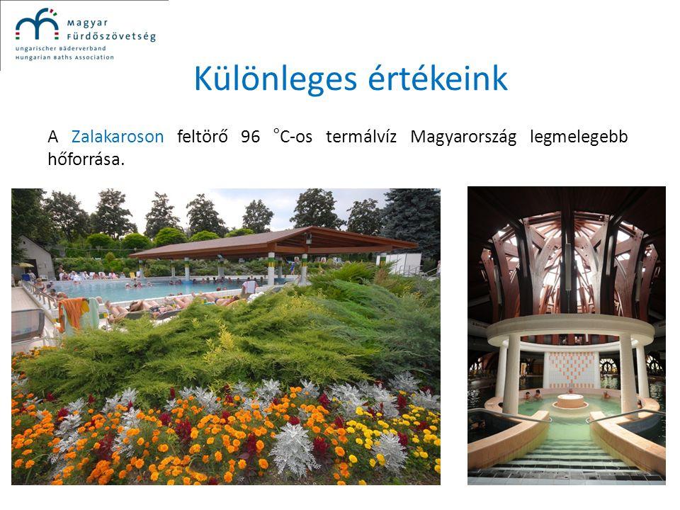 Különleges értékeink A Zalakaroson feltörő 96 °C-os termálvíz Magyarország legmelegebb hőforrása.