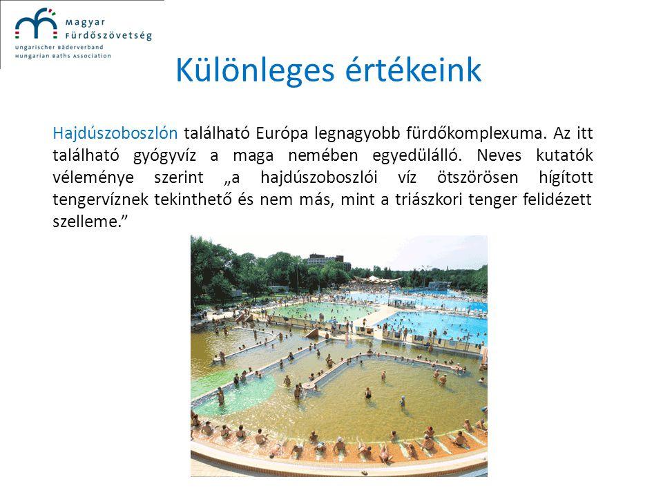 Különleges értékeink Hajdúszoboszlón található Európa legnagyobb fürdőkomplexuma. Az itt található gyógyvíz a maga nemében egyedülálló. Neves kutatók