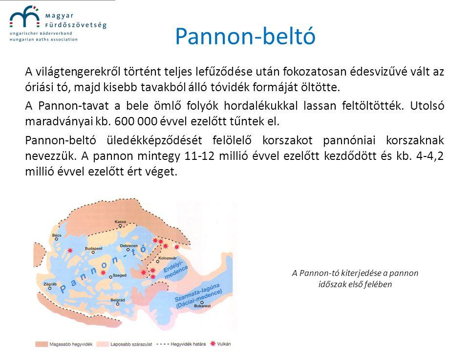 Pannon-beltó A világtengerekről történt teljes lefűződése után fokozatosan édesvizűvé vált az óriási tó, majd kisebb tavakból álló tóvidék formáját öl